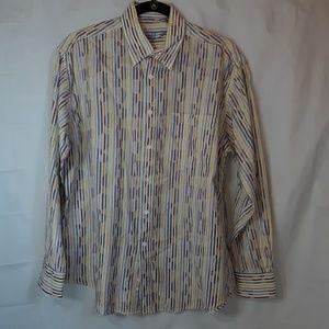 Bugatchi Multi Pastel Striped Long Sleeve dress sh